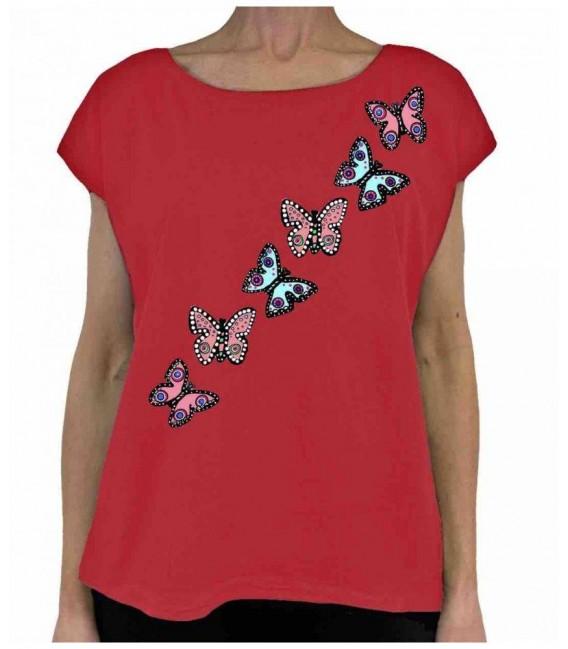 Camiseta roja mariposas Bikatelier